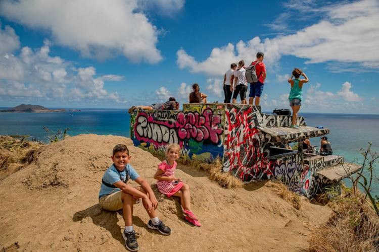 Proud of my little minions for climbing up 612ft to get this view, Lanikai Pill Box Trail