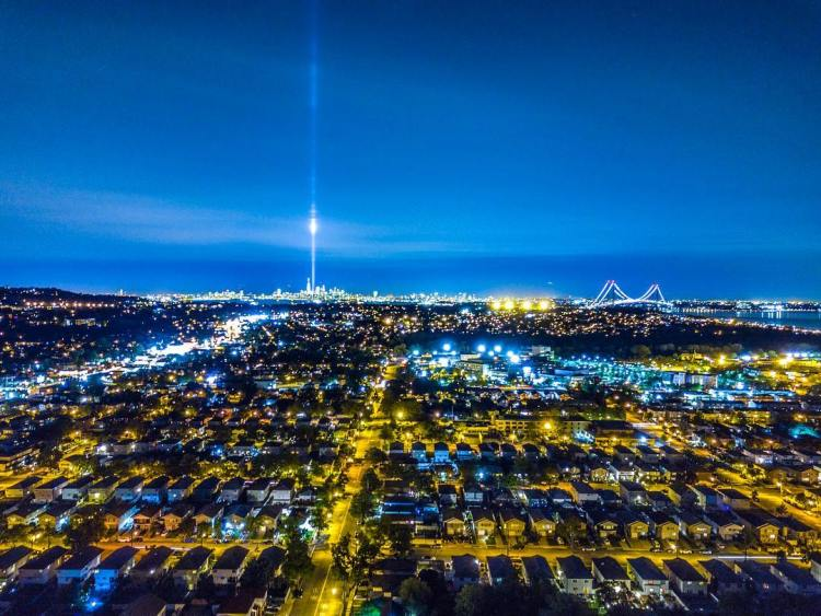 9/11 Never Forget 🇺🇸 Aerial long exposure photo of WTC lights, Staten Island, New York