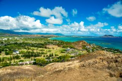 View of the Mid Pacific Country Club and Kailua Beach Park from the Lanikai Pillbox Trail