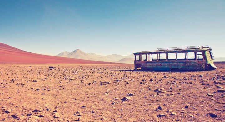 The Bolivian high plateau offers vast natural open spaces filled with beauty due to the absence of humans. Yet the presence of this empty rusted bus somehow melts into this dramatic scenery.