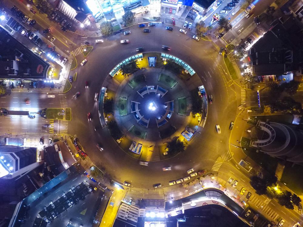 Ovalo Gutierrez, night, Lima, Peru, drone, dji, phantom