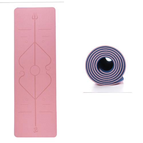 Yoga måtte med afmærkning til korrekt fodstilling - 2 farvet - 5 mm. Kr. 299