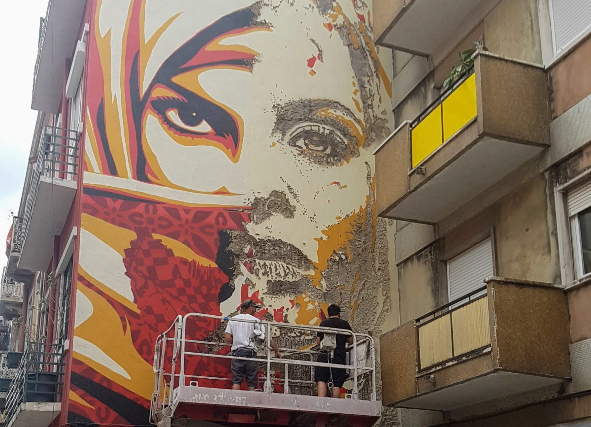Obey & VHILS' mural turns Graça into Lisbon's new street art hub
