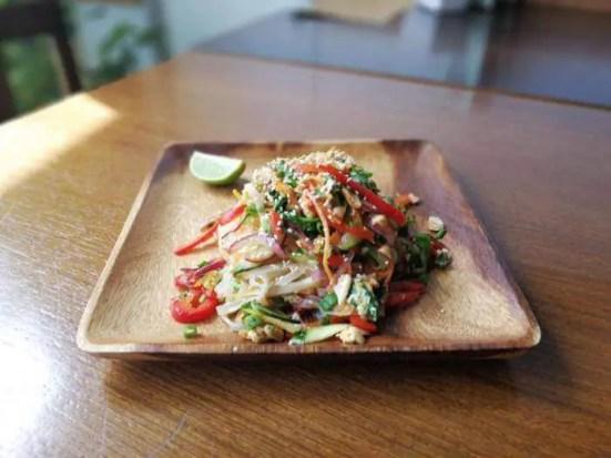 Pad Thai, vegetarian. Thomas' favorite lunch