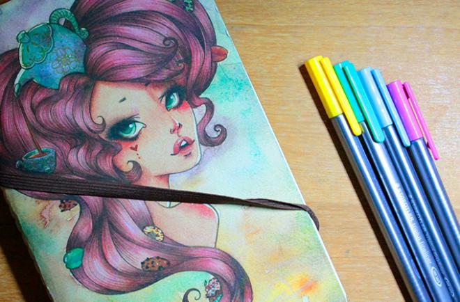 Capa de bloco ilustrada por Sabrina Eras e canetinhas Staedtler