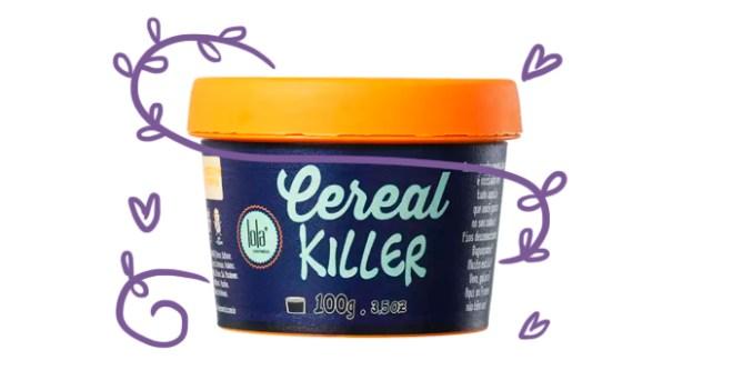 Embalagem do Cereal Killer da Lola Cosméticos, uma pomada para cabelo, com desenhos de folhinhas e corações ao redor