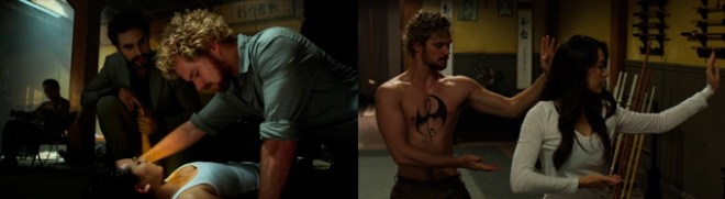 Duas cenas de Danny e Collen, uma ela está deitada no chão e ele está preocupado com ela, na outra eles fazem movimentos de taichi