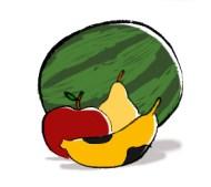 Ilustração de uma maçã, uma pera, uma banana e uma melancia.