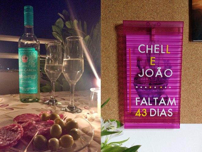 Vinhos e frios do dia dos namorados em cima de uma mesa e uma placa com escrito Chell e João Faltam 43 dias.