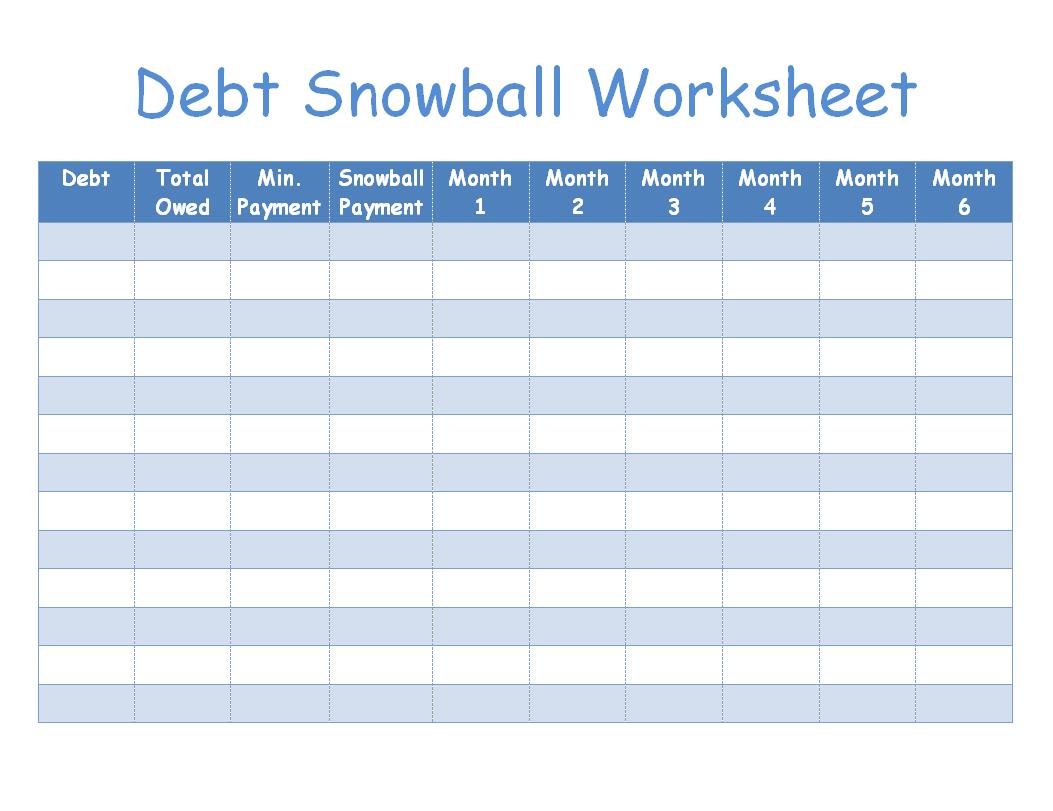 Debt Snowball Worksheet Image