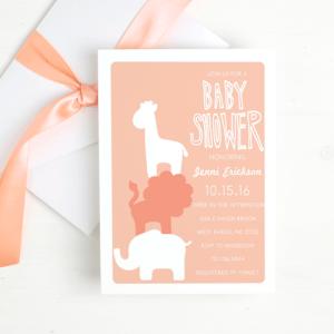 Basic Invite Safari Baby Shower Theme Invitations