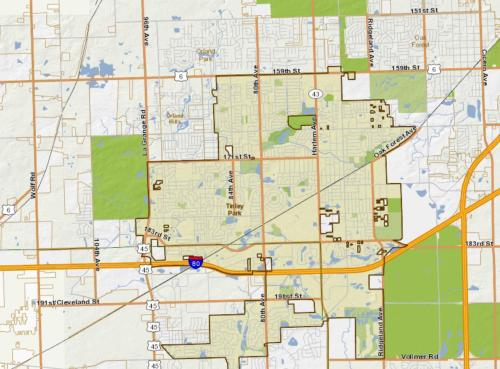 GIS Consortium Map of the Village of Tinley Park as of June 2018
