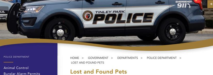 Village of Tinley Park Lost and Found Pets Page