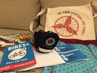 Women & Bicycles loot! A new seat bag from Pedal Chic (because I love their logo) and my Bikie Girl Bloomers!