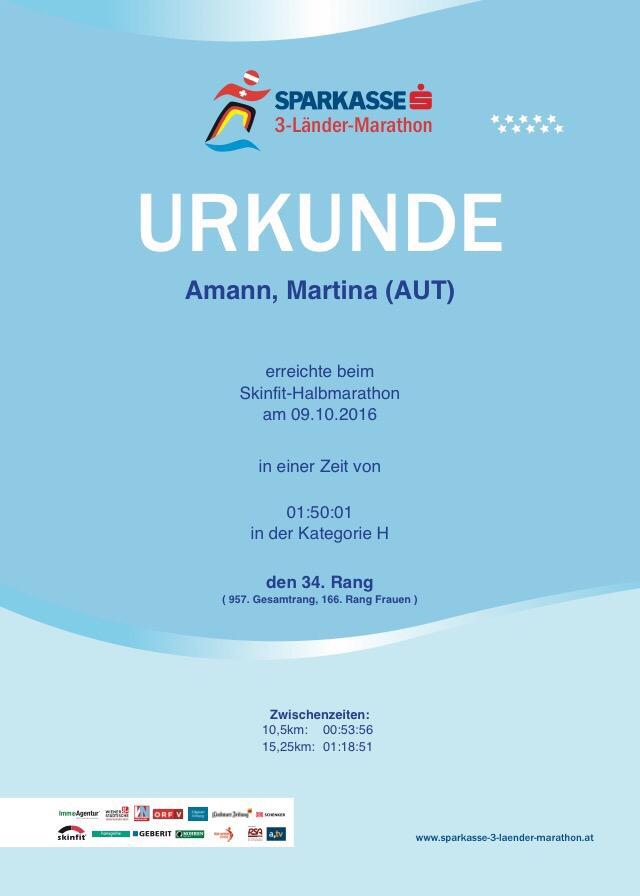 Halbmarathon - Urkunde