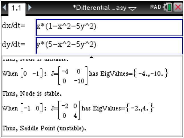 TiNspire CX : Classify Nodes as Stable, Unstable or Saddle Points given System of Differential Equations