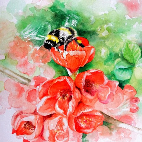Aquarelle artwork bumblebee and flowers