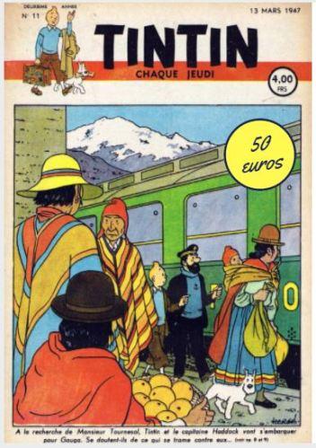 FASCICULE TINTIN 1947 TEMPLE DU SOLEIL : 2 CHOSES UNIQUES !