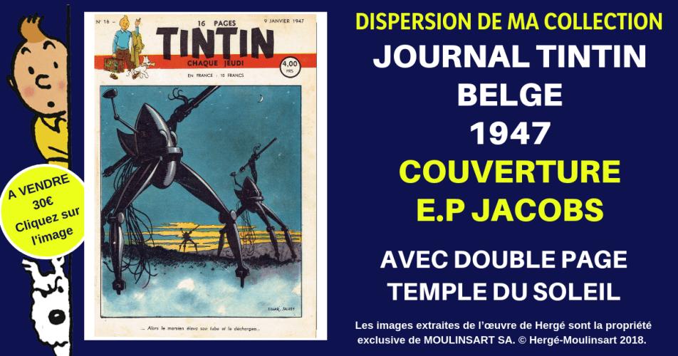 JOURNAL TINTIN COUVERTURE E.P. JACOBS (1947 - Guerre des Mondes)