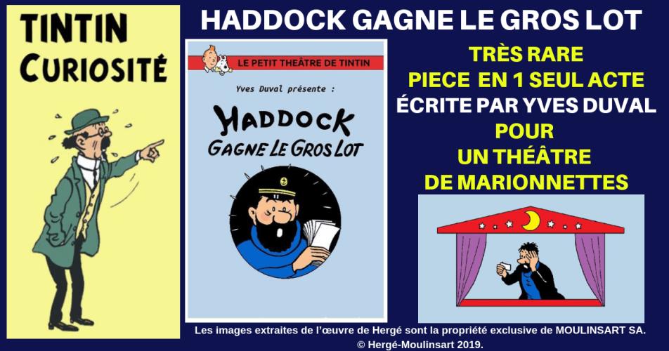 TINTIN - DOCUMENT RARISSIME HADDOCK GAGNE LE GROS LOT
