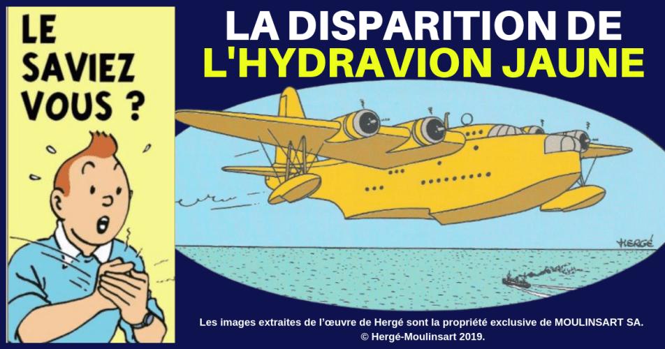 TINTIN : L'HYDRAVION JAUNE SHORT S-25 SUNDERLAND DES 7 BOULES DE CRISTAL ET... DU TEMPLE DU SOLEIL