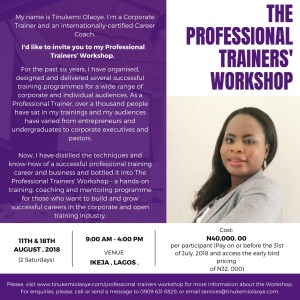 Professional trainer's workshop