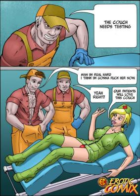 Marvelous ash-blonde comics nurse getting puss tongued and giving fellatio in a 3some