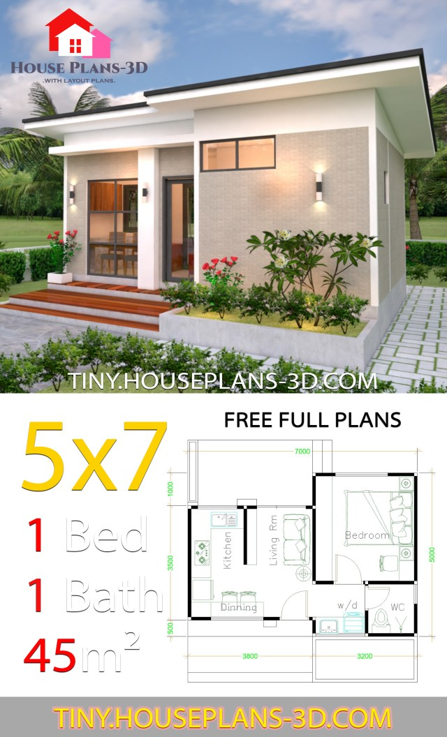 Small Design Plans 5x7 With One Bedroom Shed Roof