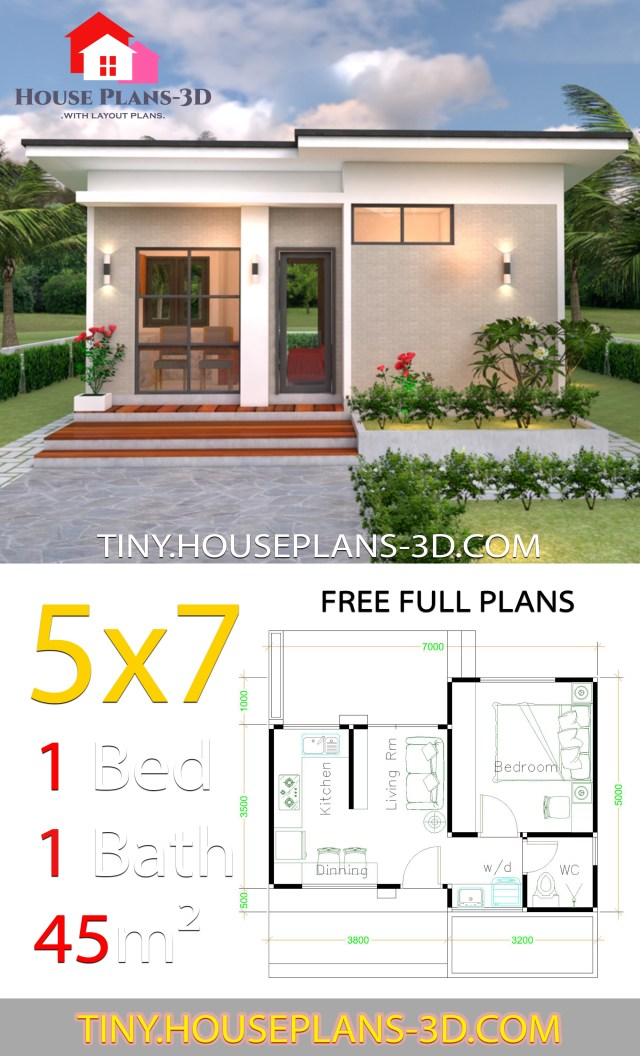 Small House Design Plans 5x7 with One Bedroom Shed Roof on shed house plans, small house plans, great tiny house plans, home floor plans, cottage floor plans, tiny house plans 20x20, tiny houses one story, shipping container floor plans, architecture floor plans, travel trailer floor plans, tiny houses on wheels, studio floor plans, cabin house plans,