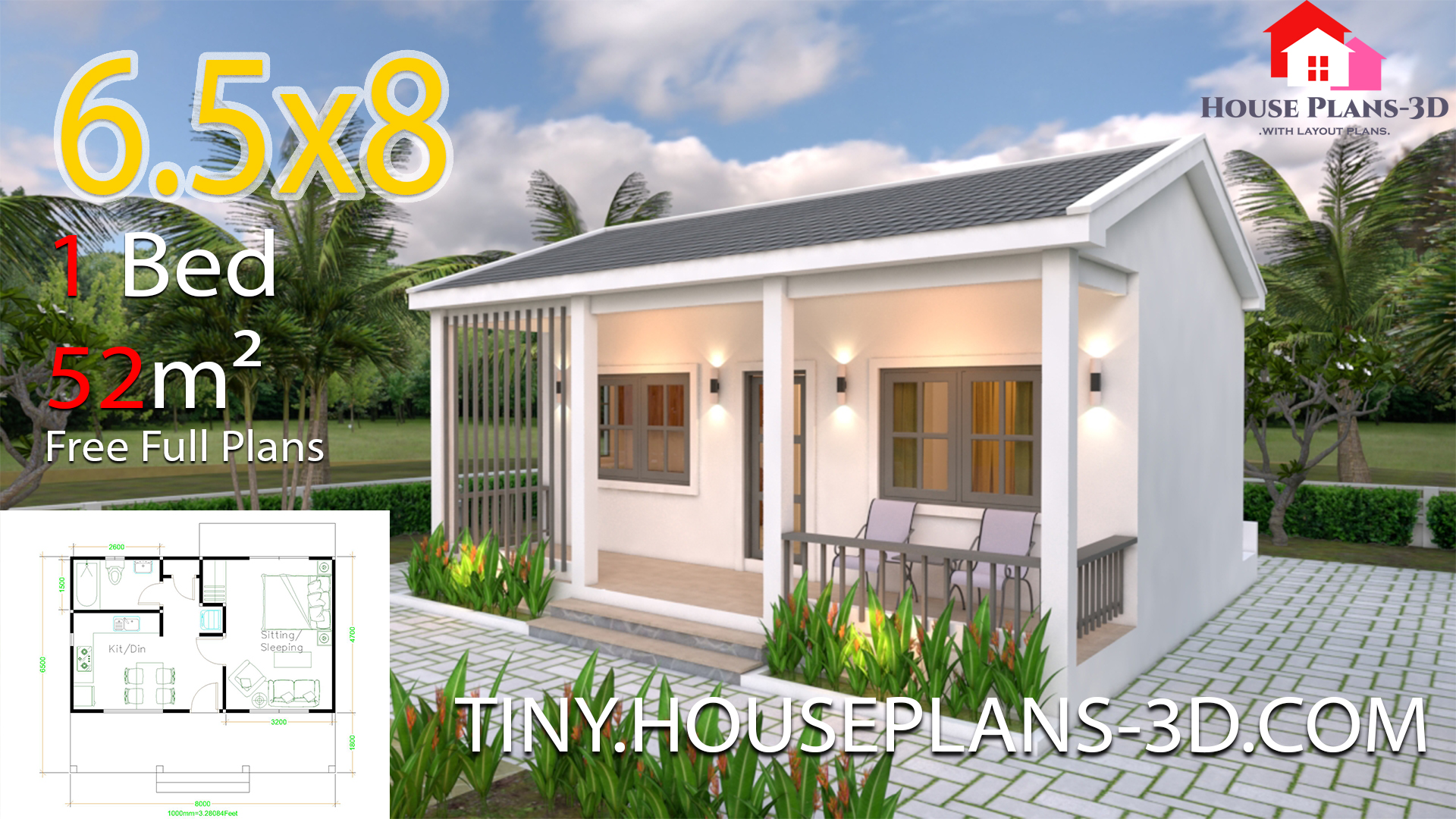 Small House Plans 6 5x8 With One Bedrooms Gable Roof Tiny House Plans