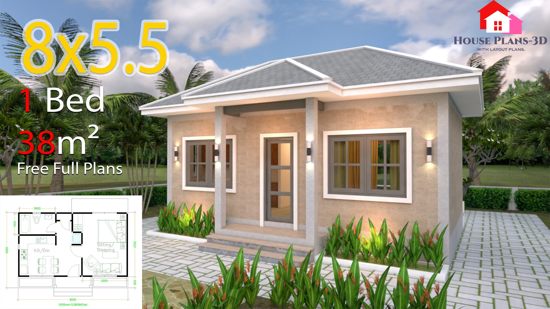 Small House Plans 8x5 5 With One Bedrooms Gross Hipped Roof Tiny House Plans