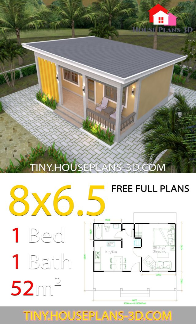 Small House Plans 8x6 5 With One Bedrooms Shed Roof Tiny House Plans