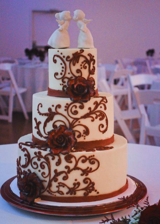 Burgundy Scrolled Wedding Cake