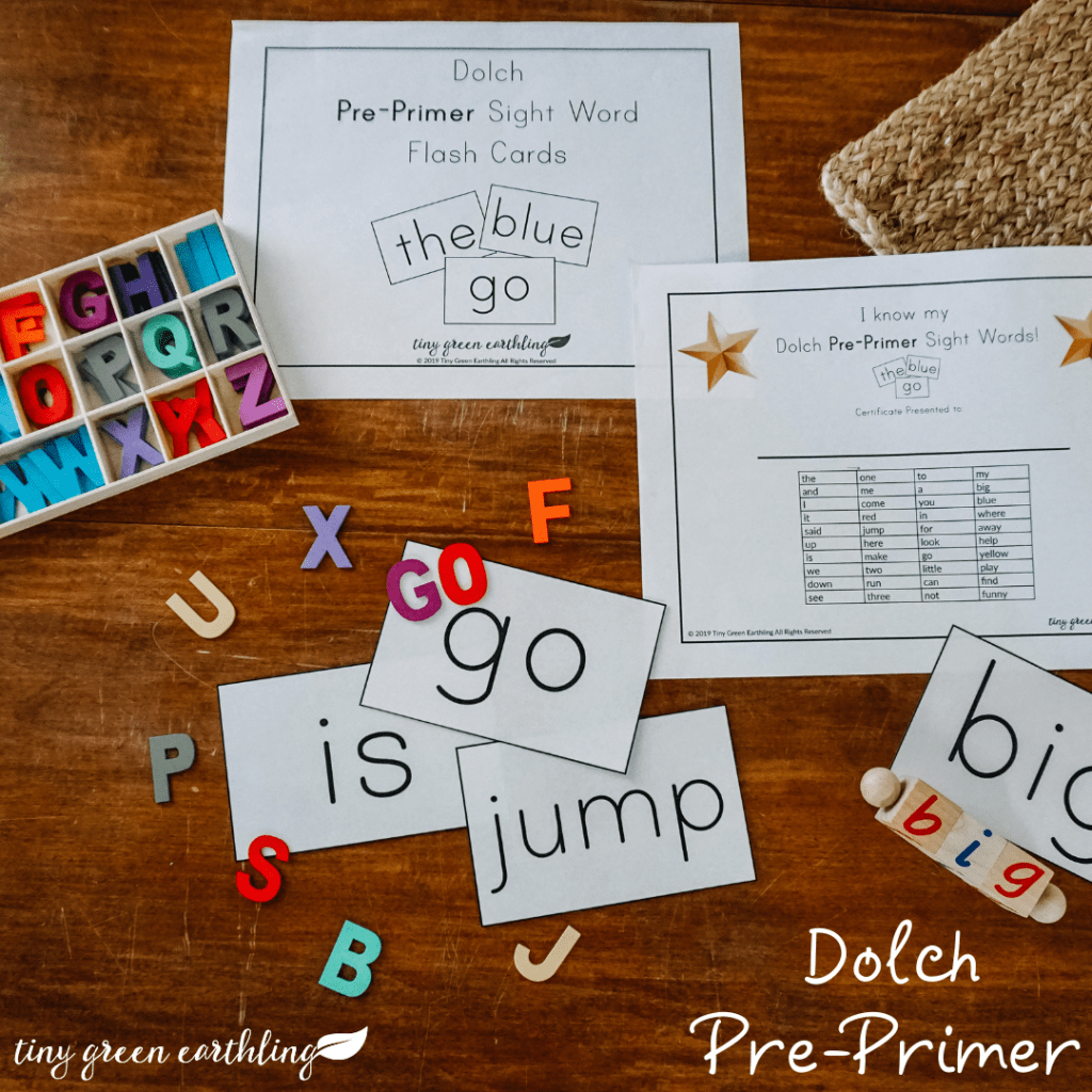 dolch pre-primer sight words flash cards