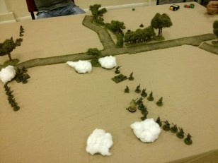 Two German squads advance through the smoke onto the flank of the Paras