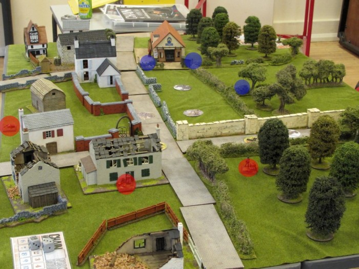 British JoPs ended up around the garage, with one up in the fields on the right. Germans are near the crossroads with one up in the houses on the left.