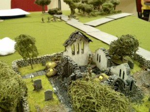 The view from the British position in the church. Two German squads and a big nasty gun opposite.