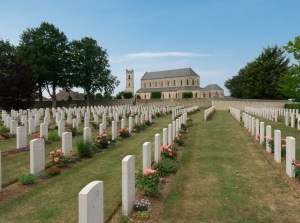The church at Ranvill is home to a large war cemetery these days. The Germans would be attacking from the left of this photo.