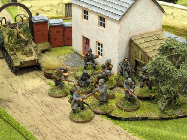Germans in the gatehouse head out