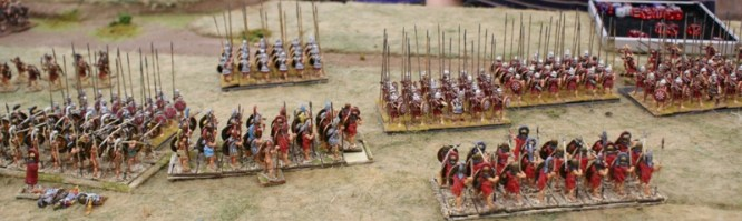 Macedonian pike blocks in four ranks try to break the Spartan line