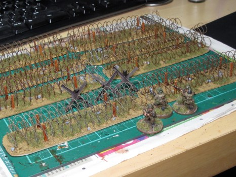 I've made 4 feet of wire and enough markers for two minefields