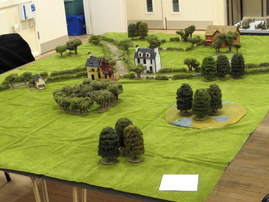 An overview of the table. Polish units were entering from the right. Germans started with a platoon on table and their reserves came on from the far side of this photo.