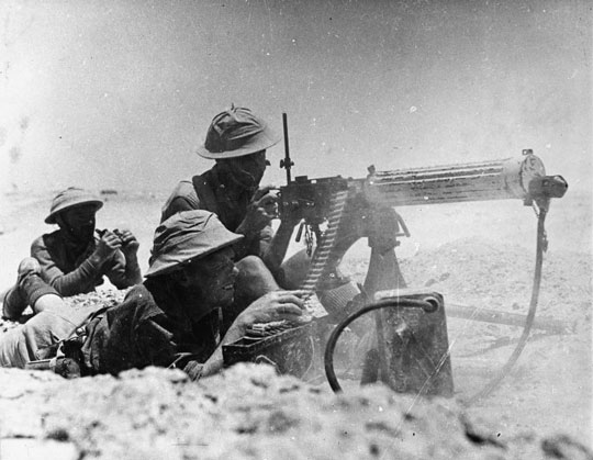 A kiwi Vickers gun in North Africa