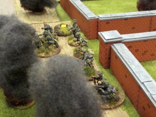 Mortar bursts landing all around the Germans