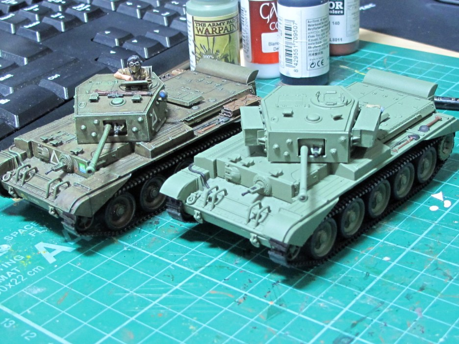 Both tanks are the Italeri kit. Here my new Cromwell has its 75mm gun in place
