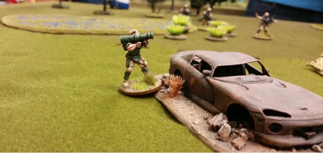 In a hostage rescue scenario, spec ops rocket launcher covers the advance of his fireteam