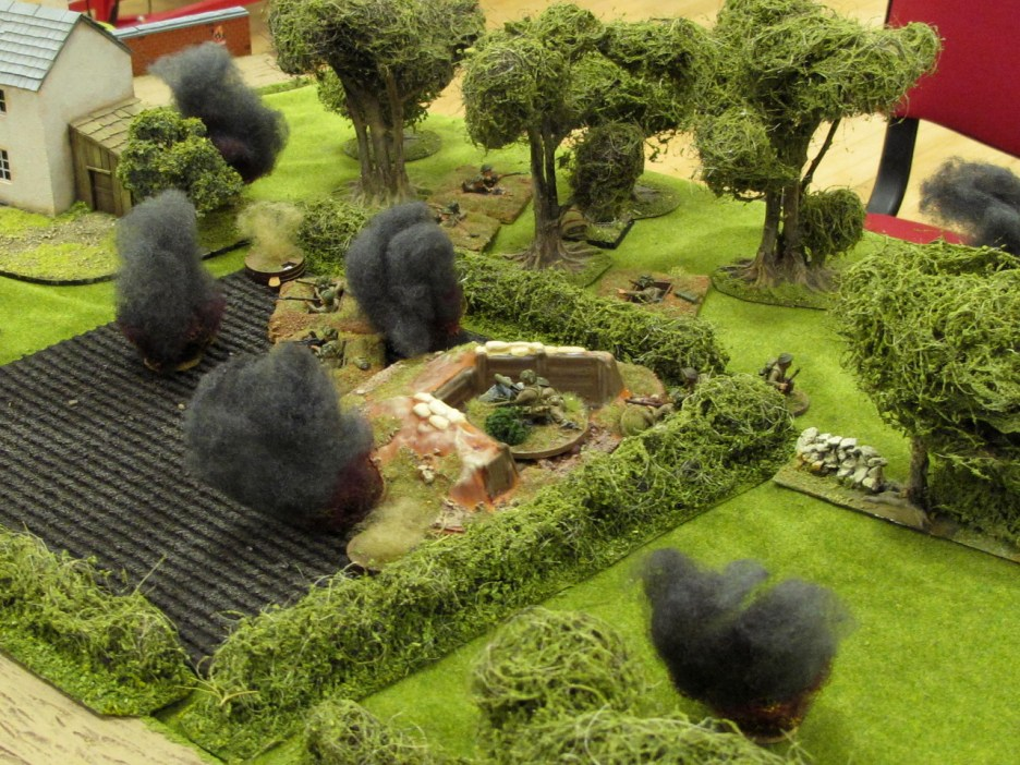 Mortar bombs rain down on the British position