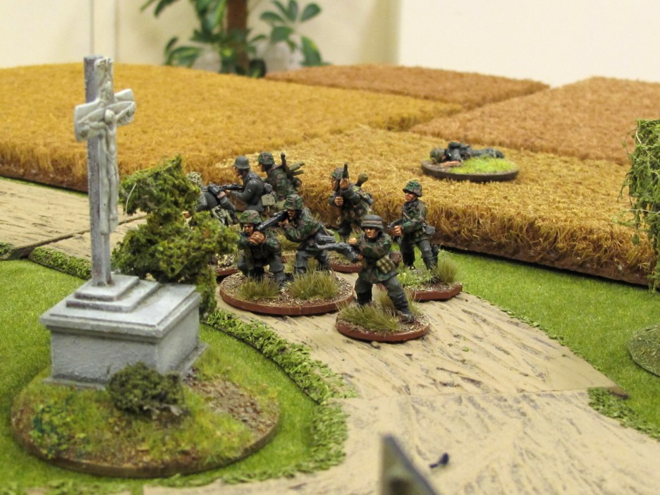 A support squad moves out of the fields
