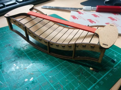 Once dry you can safely remove the section I've coloured red to make it sit on the table better