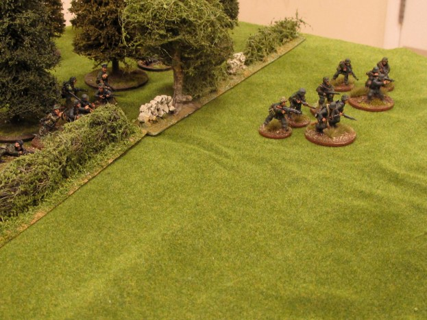 The Germans finally break cover and begin their advance